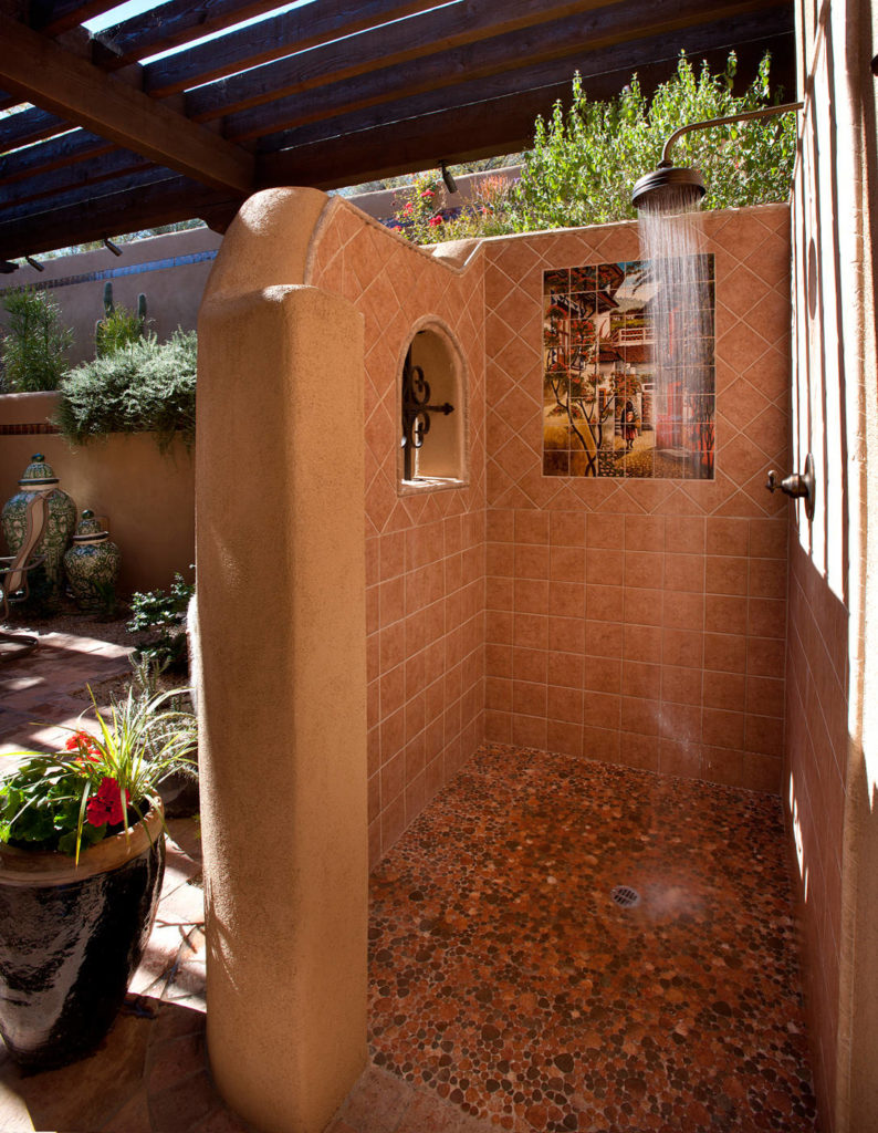 Sonoran Classic Builders outdoor shower featured on Houzz